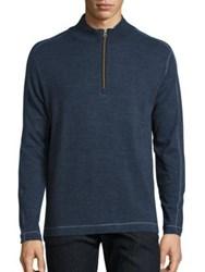 Robert Graham Long Sleeve Quarter Zip Sweater Navy