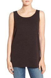 Eileen Fisher Petite Women's Round Neck Wool Crepe Long Tank Clove