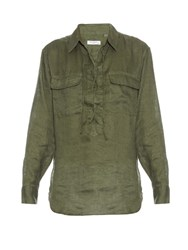 Equipment Knox Lace Up Linen Shirt Khaki