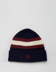 Fred Perry Tipped Beanie In Lambswool Navy