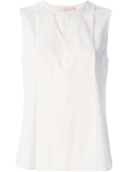 Tory Burch Sleeveless Pleated Blouse White
