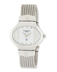 Charriol Darling Stainless Steel And Mother Of Pearl Micro Cable Bracelet Watch Silver