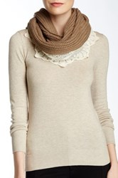Leto Lace Trim Knit Infinity Scarf Brown