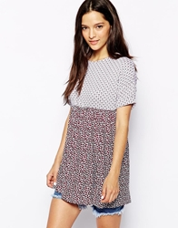 Daisy Street Tunic Top In Mix Print Whitemulti