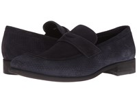 A. Testoni Net Suede Loafer Navy Men's Slip On Dress Shoes