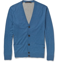 Marc By Marc Jacobs Colour Block Silk Cashmere And Cotton Blend Cardigan Blue