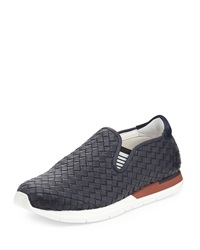 Bottega Veneta Woven Slip On Sneaker Navy