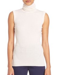 Diane Von Furstenberg Sutton Sleeveless Merino Wool And Silk Turtleneck Top Midnight Canvas White