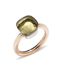 Pomellato Nudo Classic Ring With Lemon Quartz In 18K Rose And White Gold Yellow Rose