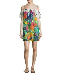 Milly Eden Floral Print Off The Shoulder Coverup Dress Multi