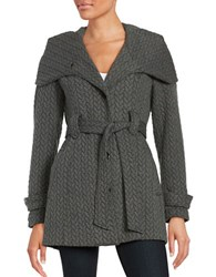Gallery Belted Embossed Jacket Charcoal Grey