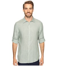 Perry Ellis Solid Rolled Sleeve Linen Shirt Summer Sage Men's Clothing Green