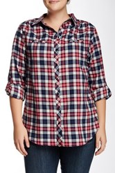 Sandra Ingrish Flannel Plaid Shirt Red