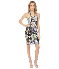 Just Cavalli Orchid Fish Print Cocktail Dress Multicolor