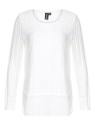 Izabel London Contrast Dipped Hem Top White