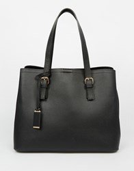 Warehouse Double Buckle Tote Bag Black