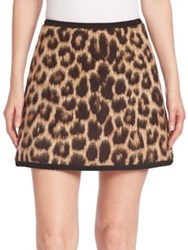 N 21 Virgin Wool And Alpaca Leopard Print Mini Skirt Multicolor