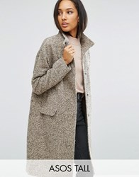 Asos Tall Oversized Coat In Wool Blend With Funnel Neck Nude Pink