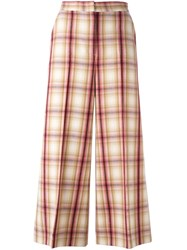 Msgm Plaid Wide Leg Cropped Trousers Nude Neutrals