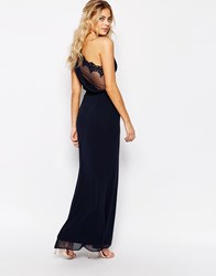 Elise Ryan One Shoulder Maxi Dress With Mesh Back Navy
