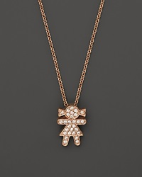 Bloomingdale's Diamond Girl Pendant Necklace In 14K Rose Gold .12 Ct. T.W. Pink