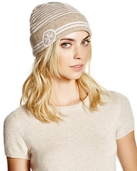 Tory Burch Reversible Striped Beanie Oatmeal
