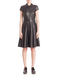 Set Collared Leather Dress Black