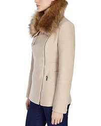Karen Millen Faux Fur Collar Textured Jacket Neutral