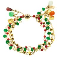 Andao Rainbow Cascade Bracelet Red Coral Gold