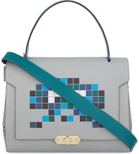 Anya Hindmarch Bathurst Space Invaders Small Leather Satchel Light Blue Circus