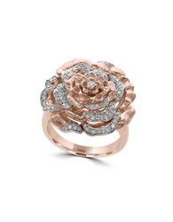 Effy Pave Rose Diamonds Floral Ring Rose Gold