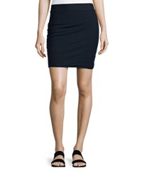James Perse Ruched Stretch Knit Skirt Deep Nav