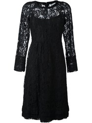 Sonia Rykiel By Lace Overlay Slim Dress Black