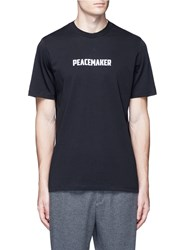 Oamc 'Peacemaker' Slogan Aviator Bee Graphic T Shirt Black
