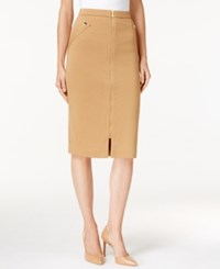Grace Elements Zipper Front Pencil Skirt Tan W Gold Zip