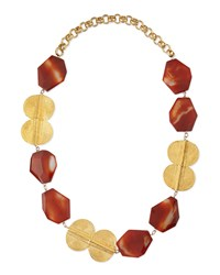 Carnelian Gold Plated Medallion Necklace Devon Leigh Red