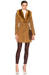 Theperfext Fwrd Exclusive Vanessa Coat With Fox Fur Collar In Brown