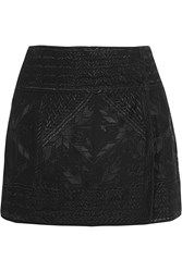 Isabel Marant Andy Embroidered Silk Georgette Wrap Mini Skirt Black