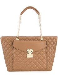 Love Moschino Quilted Shoulder Bag Brown
