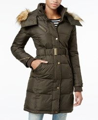 Rachel Roy Hooded Faux Fur Trim Quilted Puffer Coat Only At Macy's Loden