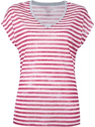 Majestic Filatures Striped V Neck T Shirt Red