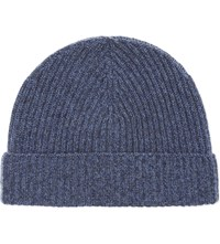 Johnstons Marled Cashmere Ribbed Beanie American Navy