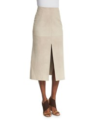 Agnona Double Slit Leather Midi Skirt Beige Women's Size 46