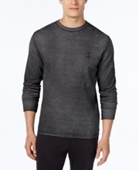 Polo Ralph Lauren Men's Waffle Knit Vintage Wash Long Sleeve Sleep Shirt Washed Polo Black