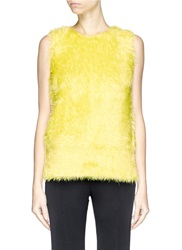 Ms Min Faux Fur Knit Sleeveless Top Yellow