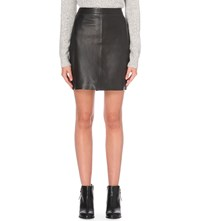The White Company High Rise Mini Leather Skirt Black