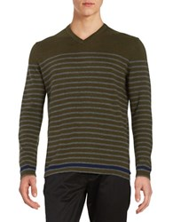 Black Brown Striped V Neck Sweater Dark Olive