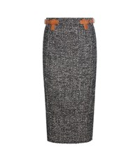 Tom Ford Tweed Pencil Skirt Black