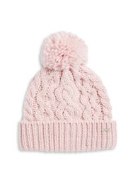 Rella Cable Knit Pom Pom Accented Fleece Lined Beanie Rose