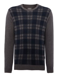Peter Werth Plant Pattern Crew Neck Pull Over Jumpers Charcoal
